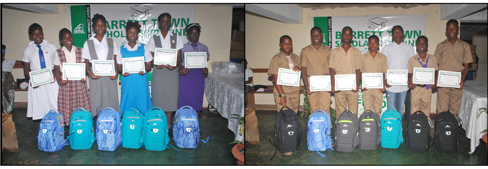 Students with the certificate and gifts